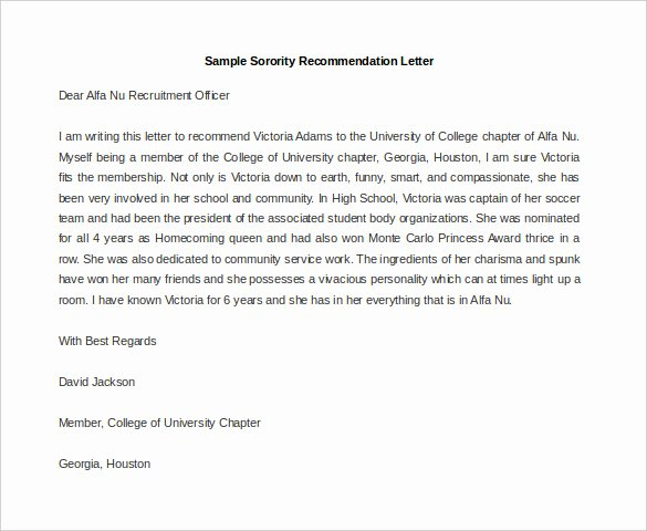 Sorority Recommendation Letter Template Inspirational 30 Re Mendation Letter Templates Pdf Doc