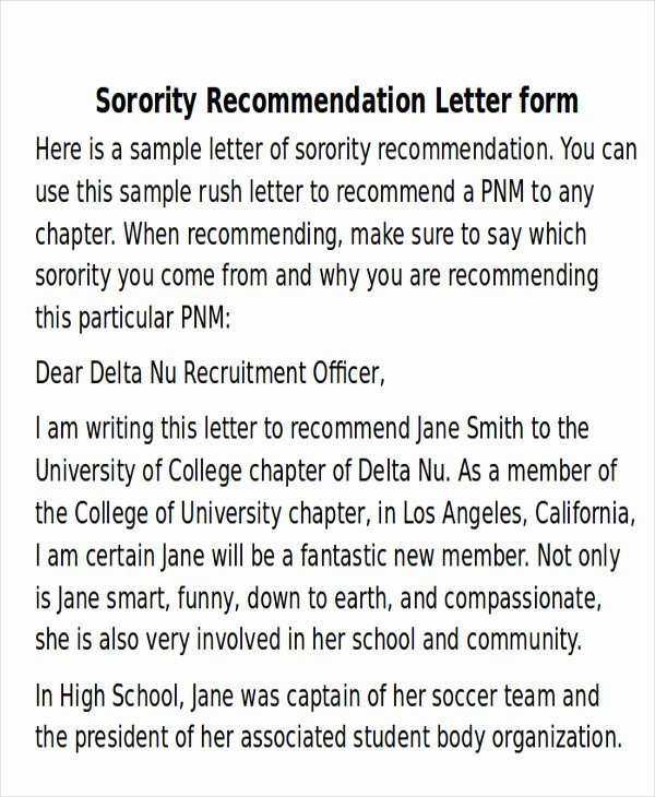 Sorority Recommendation Letter Template Luxury 6 Sample sorority Re Mendation Letters