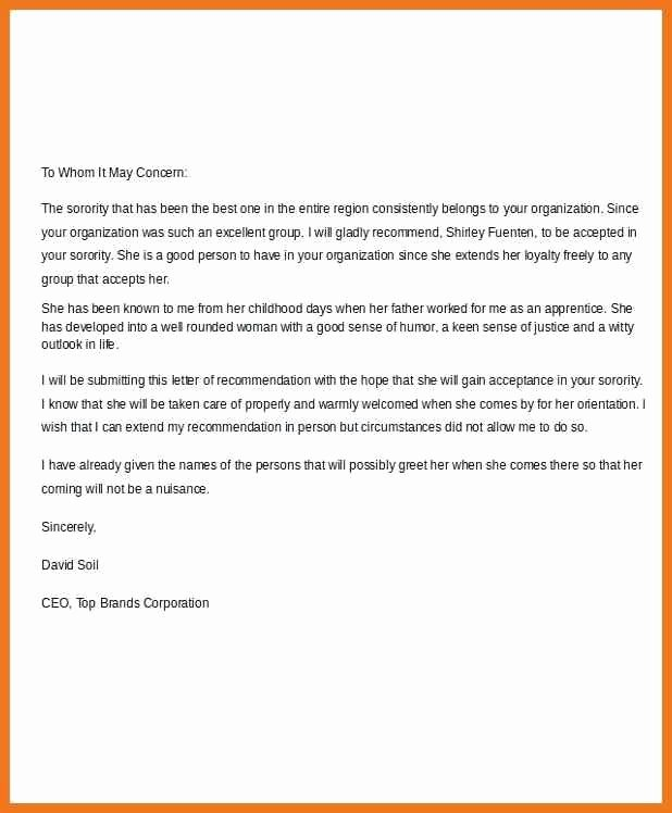 Sorority Recommendation Letter Template New sorority Re Mendation Letter Sample