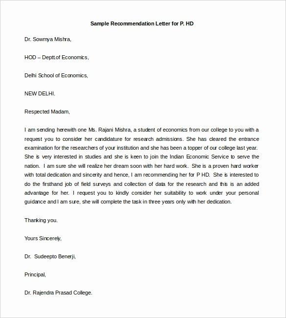 Sorority Recommendation Letter Template Unique 30 Re Mendation Letter Templates Pdf Doc