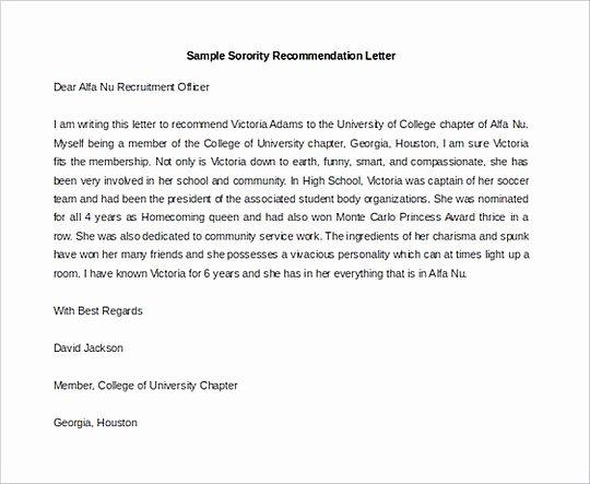 Sorority Recommendation Letter Template Unique Letter Of Re Mendation Template