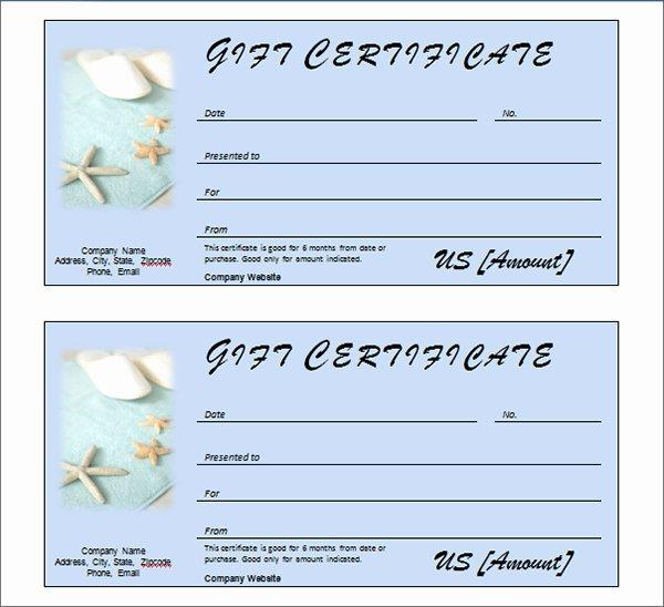 Spa Gift Certificate Template Beautiful Printable Gift Certificate Templates