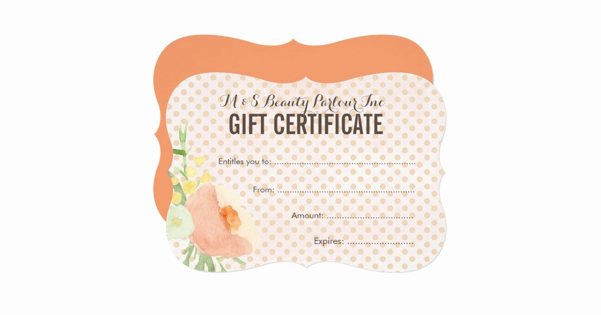 Spa Gift Certificate Template Fresh Floral Spa Beautician Gift Certificate Template Card