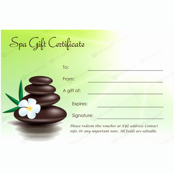 Spa Gift Certificate Template Luxury Gift Certificate 22 Word Layouts