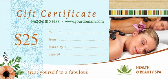 Spa Gift Certificate Template New Gift Certificate Template 14 Sample Word Psd Ai