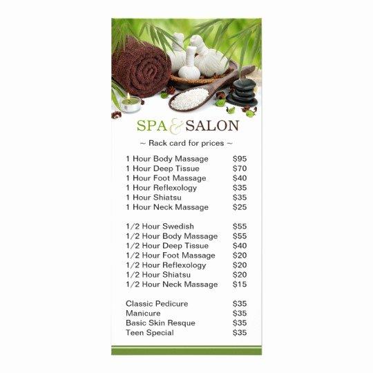 Spa Menu Template Free Lovely Promotional Spa Massage Salon Service Menu