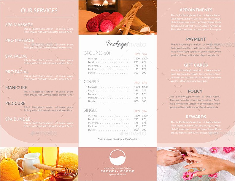 Spa Menu Template Free New 15 Spa Menu Designs and Examples – Psd Al