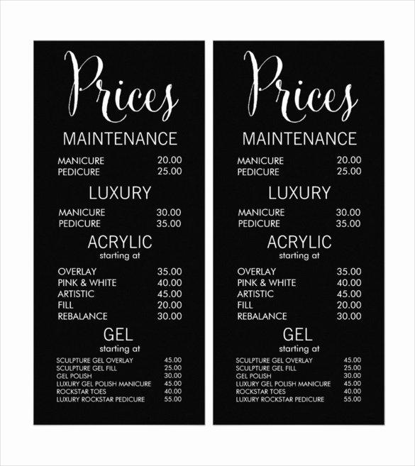 Spa Menu Template Free New 22 Price Menu Templates – Free Sample Example format