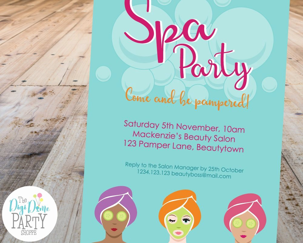Spa Party Invitation Template Luxury Spa Party Printable Invitation Template 5x7in Mint and