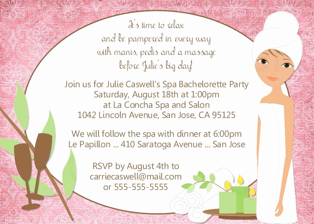 Spa Party Invite Template Beautiful Bear River Greetings Spa Party Invitation