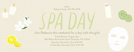 Spa Party Invite Template Beautiful Invitations Free Ecards and Party Planning Ideas From Evite