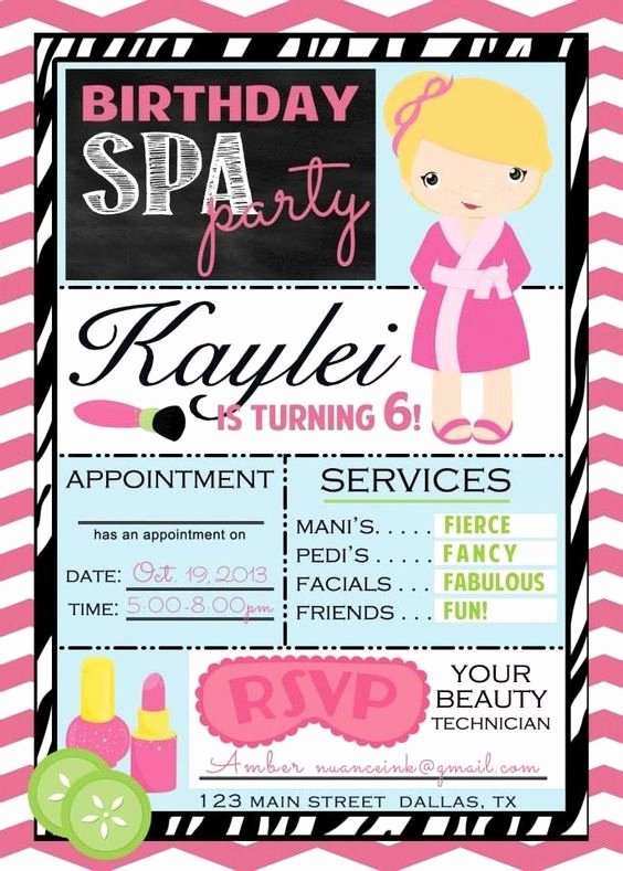 Spa Party Invite Template Elegant Custom Spa Salon Make Over Birthday Party Invitations