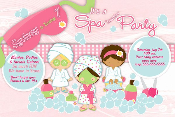 Spa Party Invite Template Elegant Customized Printable Spa Slumber Party Birthday Invitation