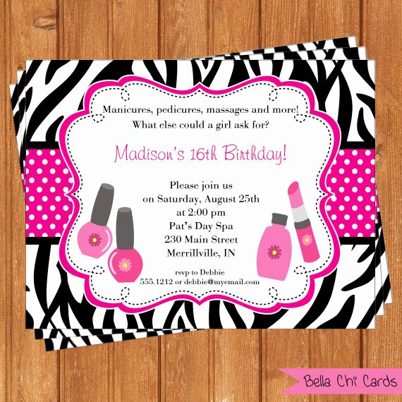 Spa Party Invite Template Elegant Kids Spa Party Invitations