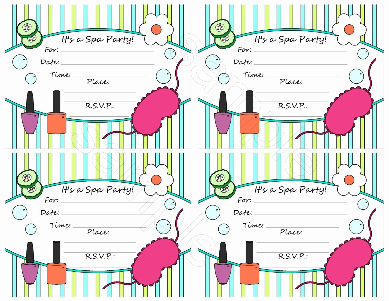Spa Party Invite Template Fresh Spa Party Invitation Blank Templates