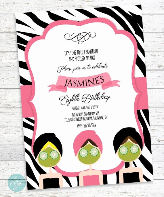 Spa Party Invite Template Luxury Spa Birthday Invitation Spa Day Spa Party by Flairandpaper