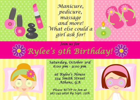 Spa Party Invite Template New Free Printable Spa Birthday Party Invitations