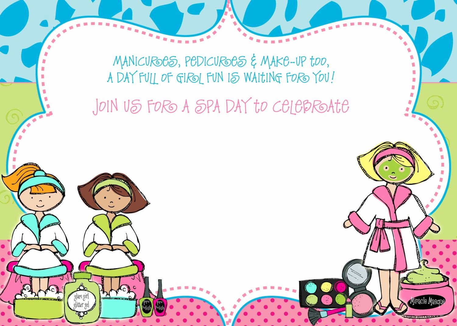 Spa Party Invite Template Unique Get Free Template Free Spa Party Birthday Invitation