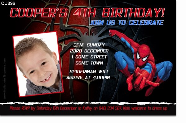 Spiderman Birthday Invitation Template Beautiful Cu896 Spiderman Birthday Invitation Boys themed