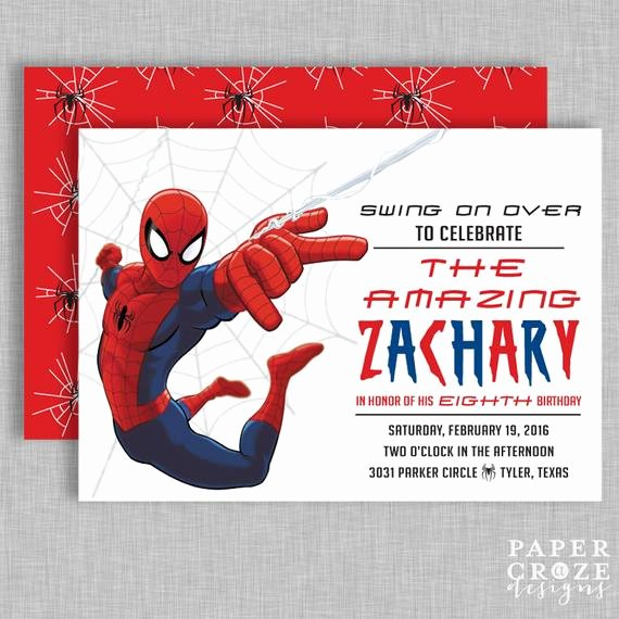Spiderman Birthday Invitation Template Elegant Spiderman Birthday Party Invitation
