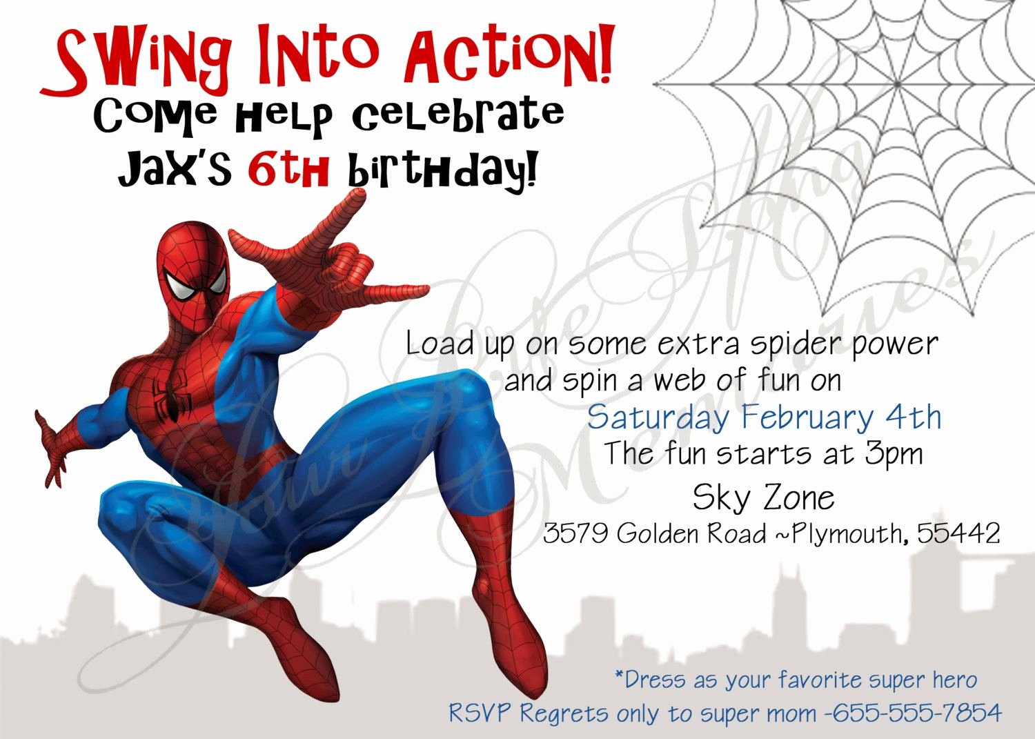 Spiderman Birthday Invitation Template Lovely Spiderman Birthday Invitations Free Printable