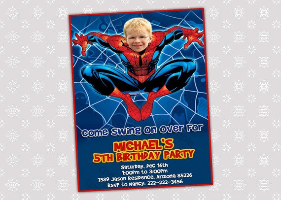 Spiderman Birthday Invitation Template Unique Spiderman Birthday Party Invitation Your by