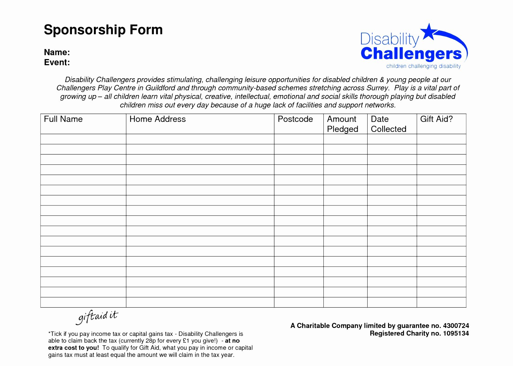 Sponsorship form Template Word Best Of 9 Blank Sponsor form Template Uitet