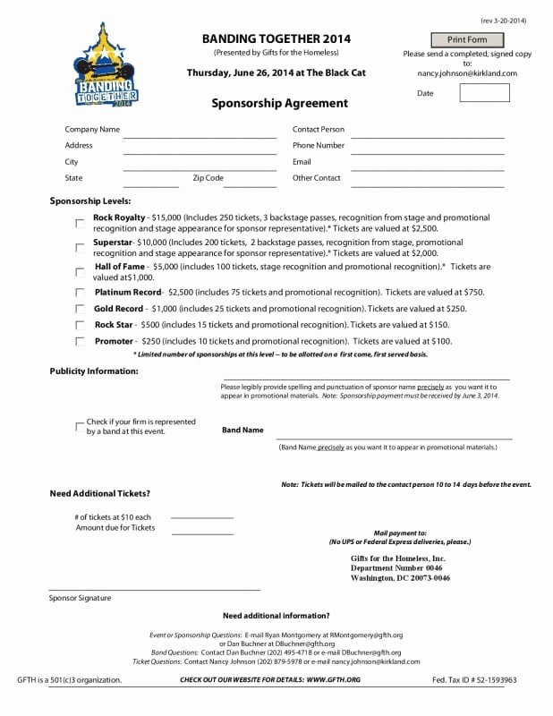 Sponsorship form Template Word Luxury 5 Free Sponsorship Agreement Templates Excel Pdf formats