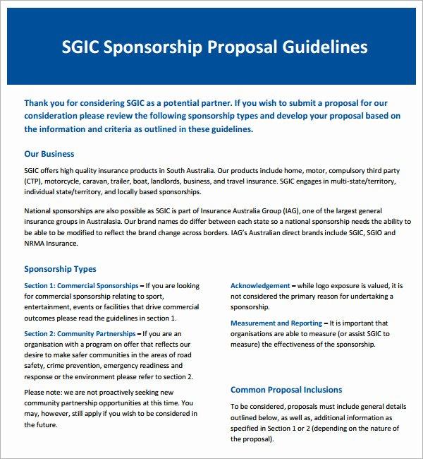 Sponsorship Package Template Free Beautiful Sample Sponsorship Proposal Template 18 Documents In