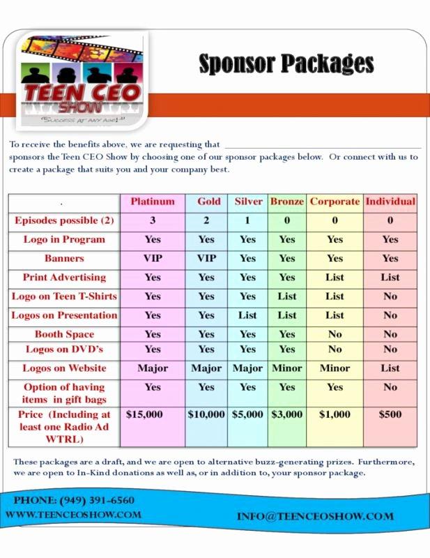 Sponsorship Package Template Free Beautiful Sponsorship Package Template