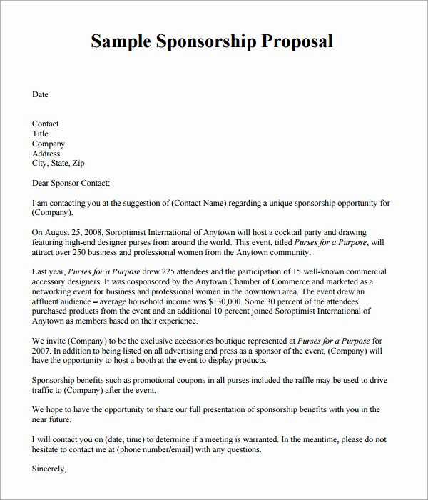 Sponsorship Package Template Free Elegant Sponsorship Proposal Template 9 Download Free Documents