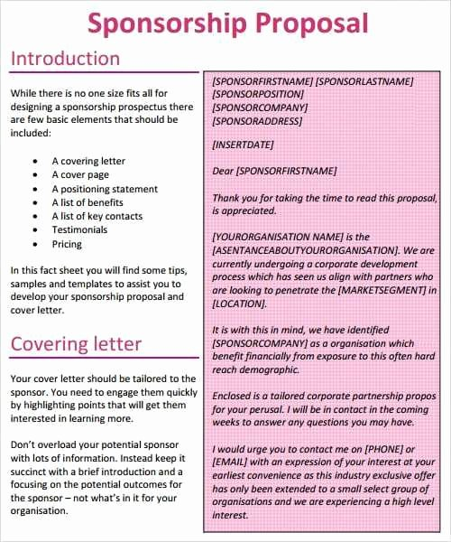 Sponsorship Proposal Template Free Awesome 21 Free Sponsorship Proposal Template Word Excel formats