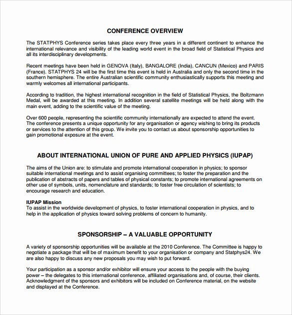 Sponsorship Proposal Template Free Best Of Sponsorship Proposal Template