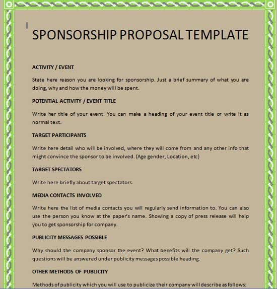 Sponsorship Proposal Template Free Inspirational Sponsorship Proposal Template