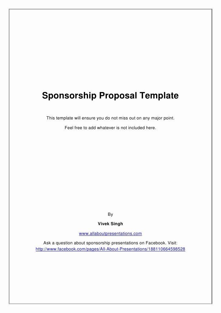 Sponsorship Proposal Template Free Lovely Sponsorship Proposal Template