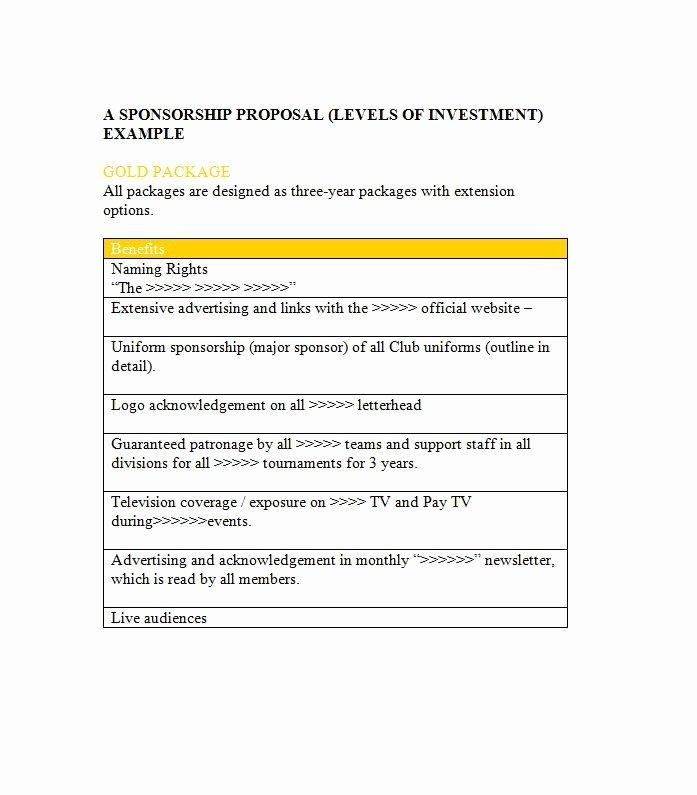 Sponsorship Proposal Template Free New 40 Sponsorship Letter & Sponsorship Proposal Templates