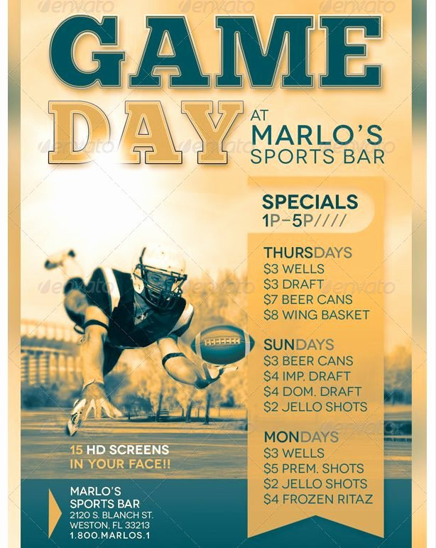 Sports Flyer Template Free Luxury Game Day Sports Bar Flyer Template Party Flyer Templates