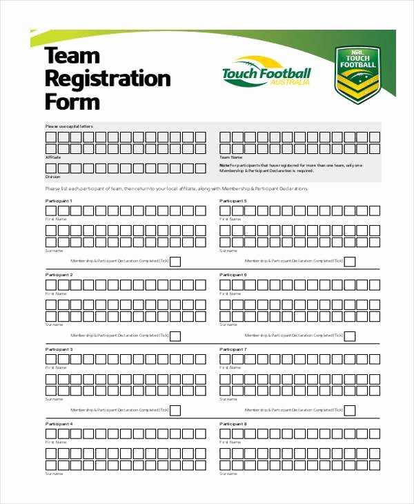 Sports Registration forms Template Beautiful Sports Team Registration form Template Templates On soccer