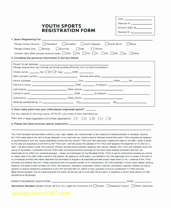 Sports Registration forms Template Elegant Baseball League Registration form Template tournament