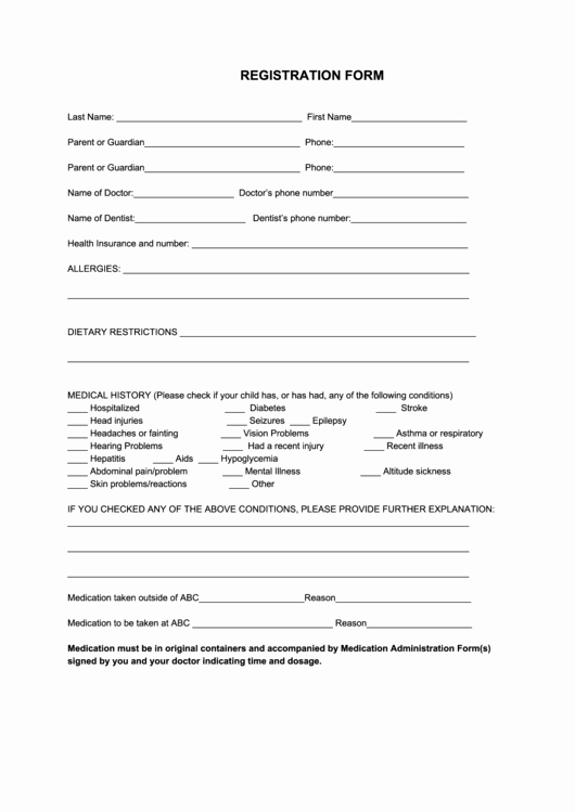 Sports Registration forms Template Fresh 60 Sports Registration form Templates Free to In Pdf