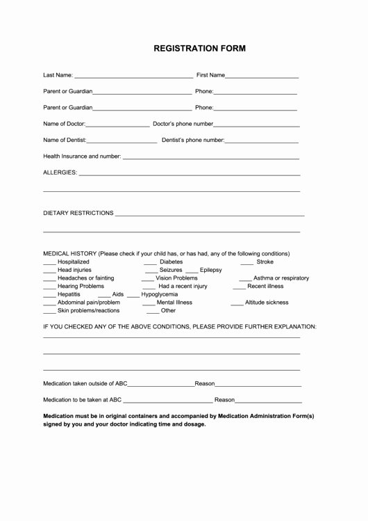 s sports registration form template free 2