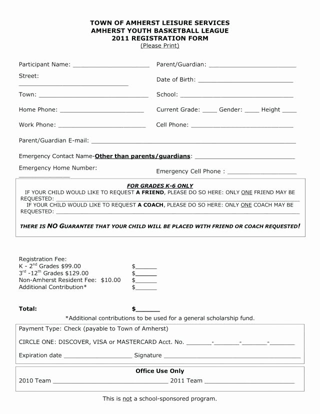 Sports Registration forms Template Lovely Restaurant Job Application Template Coaching form