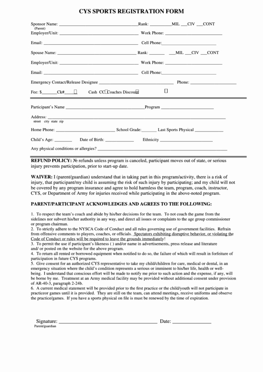 Sports Registration forms Template New 60 Sports Registration form Templates Free to In Pdf