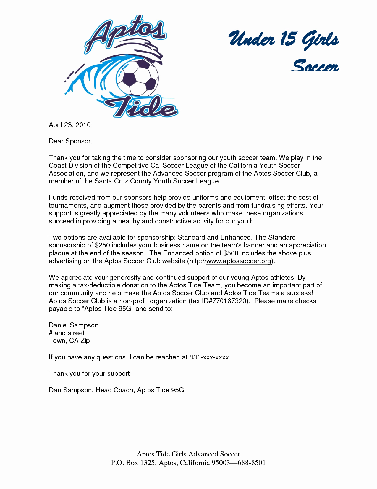 Sports Sponsorship Proposal Template Best Of Parent Thank You Letter From Youth athletes