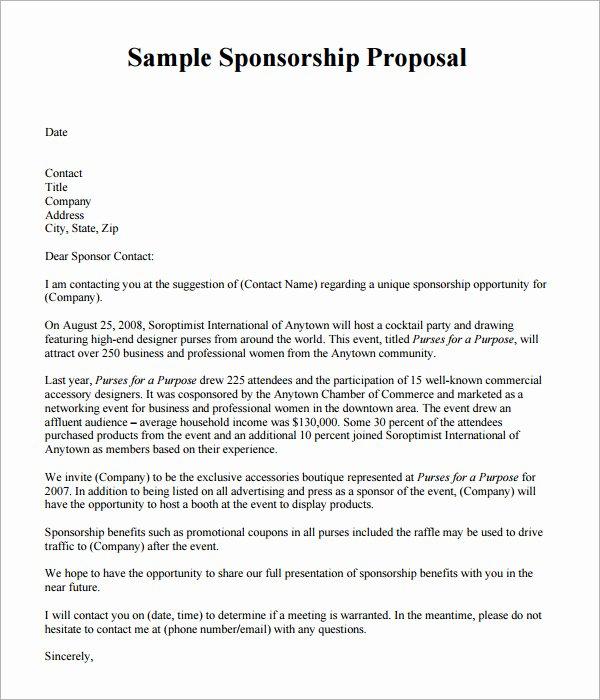 Sports Sponsorship Proposal Template Elegant 19 Sample Sponsorship Proposal Templates