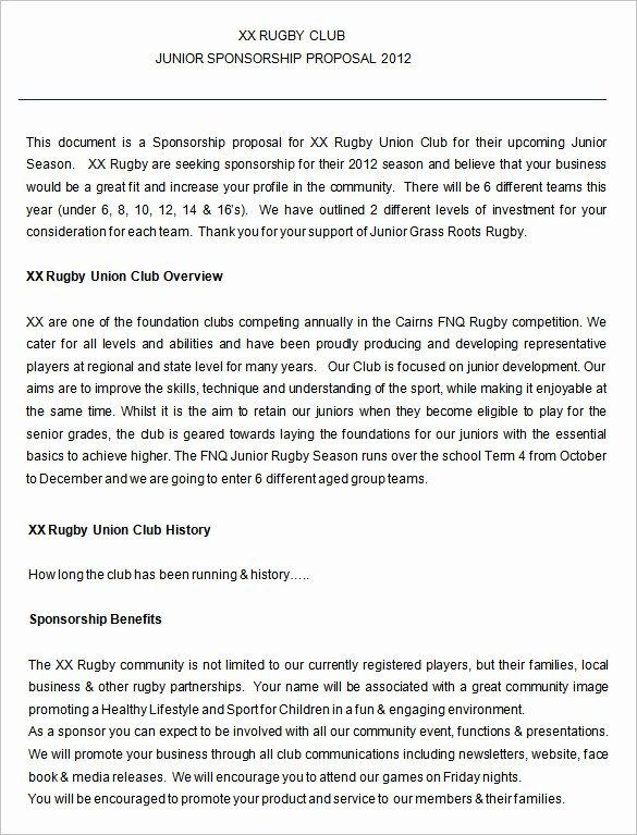 Sports Sponsorship Proposal Template Elegant Proposal Templates – 140 Free Word Pdf format Download