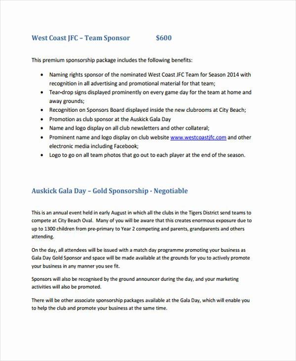 Sports Sponsorship Proposal Template Inspirational 8 Club Sponsorship Proposal Templates Free Sample