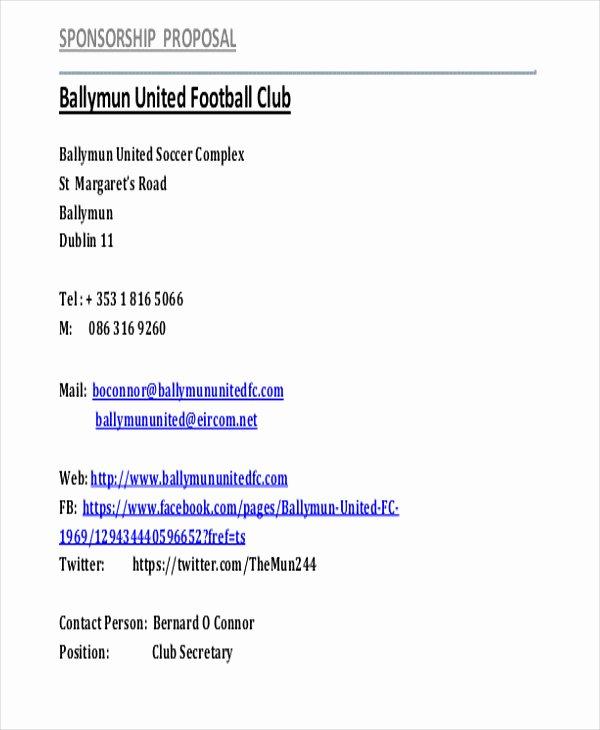 Sports Sponsorship Proposal Template Unique Sports Sponsorship Proposal Template or 11 Sports