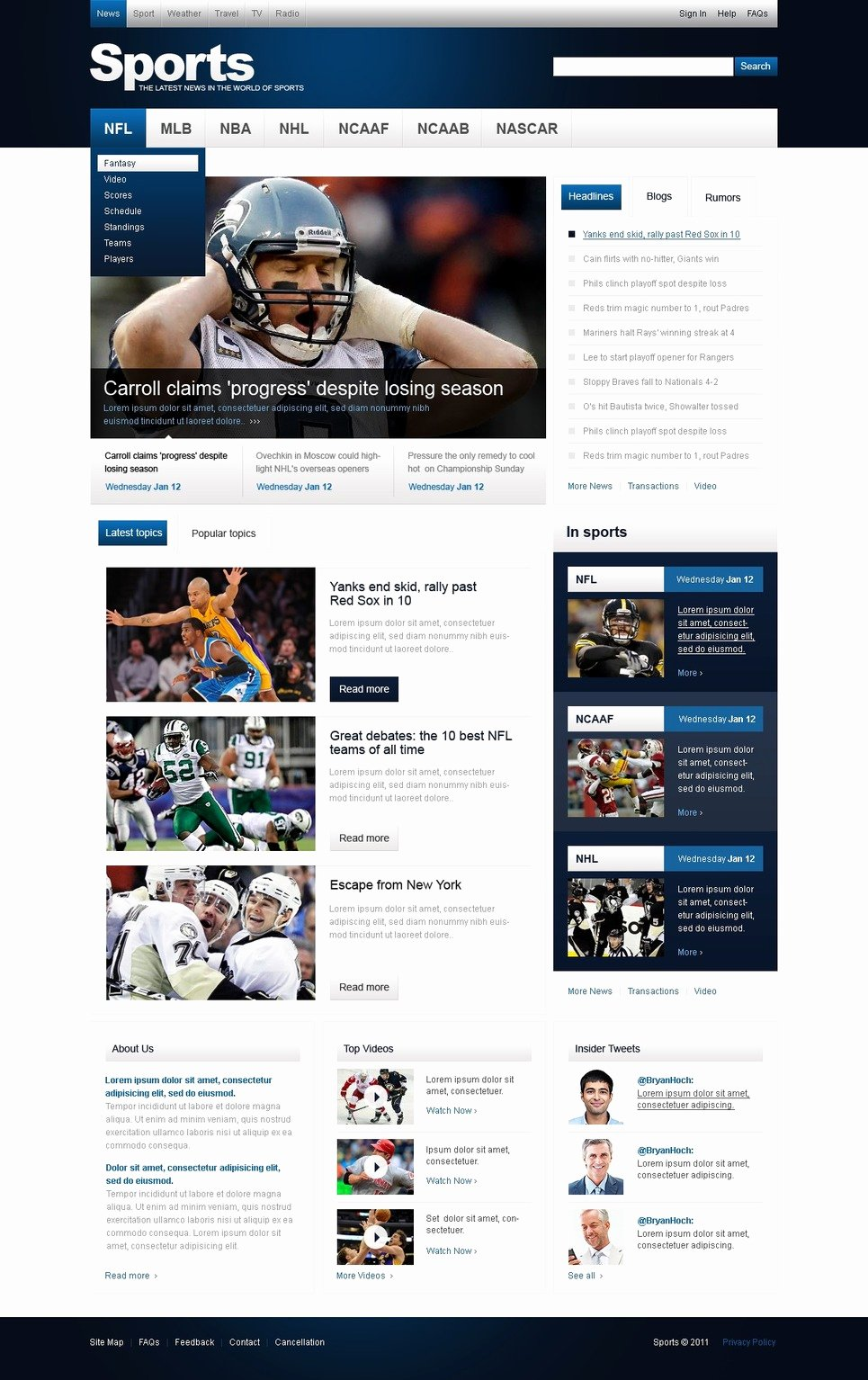 Sports Web Site Template Awesome Sports News Website Template