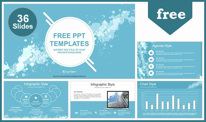 Sports Web Site Template Fresh Water Colored Splashes Powerpoint Template